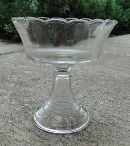 Lovely Mint Condition Old Vintage SANDWICH GLASS Compote, Wafer, Early Fluted