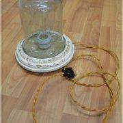 Thomas Edison Light Bulb mounted inside Globe On Wood Base End Table Fixture