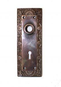 Shell Top Door BACK PLATE Hardware solid brass vintage hardware DARKENED AGED antique