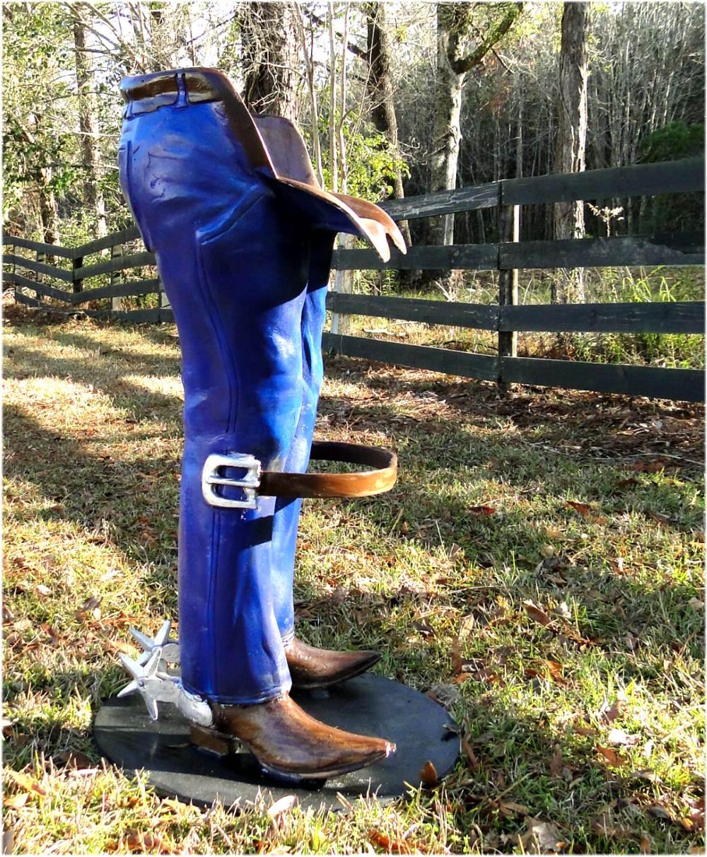 Cowboy Bar Stool W Belt Foot Rest Spurs Boots Western