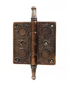 "Victorian Motif Design 3.5"" Solid Brass Door Hinge Restoration DARKENED AGED New Hardware"