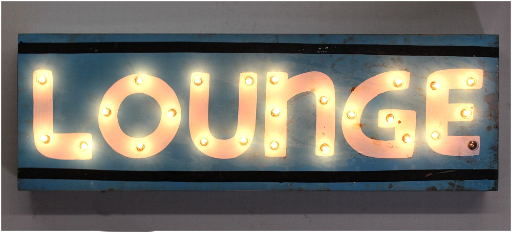 Retro LOUNGE Lighted Sign Metal Tin Wall Mounted with 1950's Feel Vintage Style
