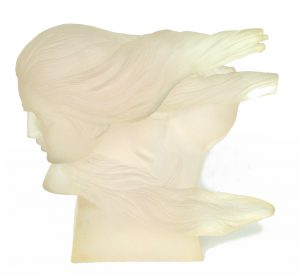Acrylic Lucite Art Womans Face Sculptue Vintage 1960's Modern Hart Haziza Style