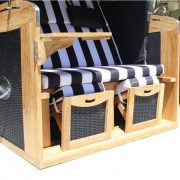 Stunning Covered Canopy Teak and Rattan Beach Cabana w Cushions and Foot Rest