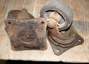 Antique Cast Iron Swivel BALL bearing FActory cart WHEEL, old hardware