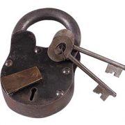 "Medium Large Treasure Chest LOCK Iron Working w Keys BIG 6"" Padlock Antique Style"
