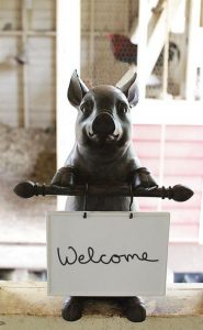 Cute Pig with Ceramic Message Board For Restaurant or Kitchen Sign, Fun Adorable !