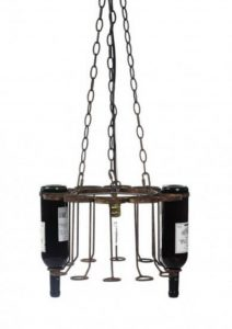 Hanging Wine Bottle Iron and Rust Chandelier for Used Bottles, Factory Rack Light