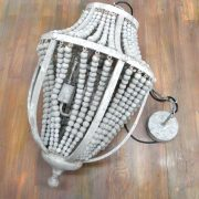 Gray Aged Iron and Wooden Bead Chandelier Hanging Light Fixture