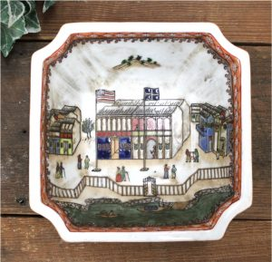 Old Chinese Export Square Bowl with Building & American Flag Antique Replica