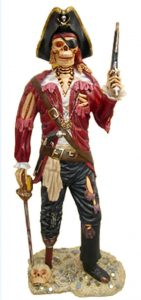 Life Size PIRATE SKELETON STATUE Undead Caribbean Old Style Sculpture Gun Sword