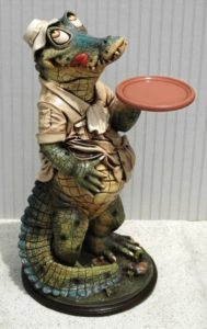 Alligator Butler Waiter Statue 2ft Tall Restaurant of Kitchen Crocodile Swamp People Style