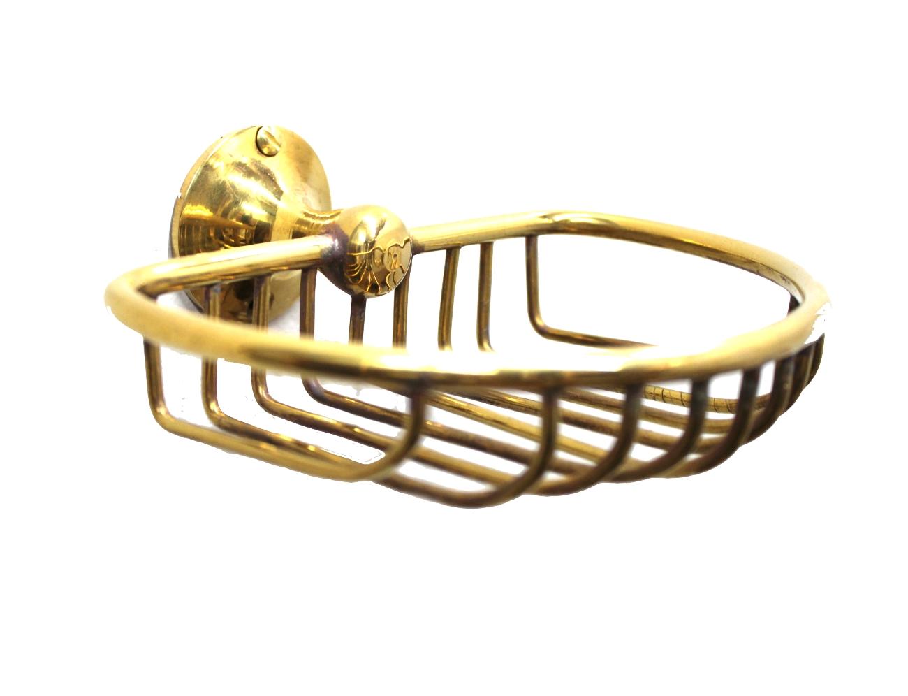Wall Mount Soap Dish / Sponge wash cloth holder Solid Brass vintage Replica
