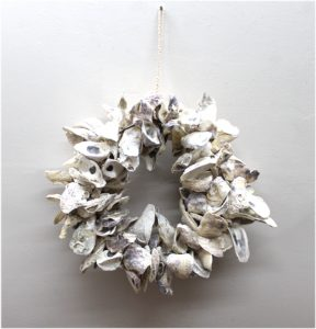 Oyster Shell Wreath or Centerpiece Nautical Beach Theme Wall Mount