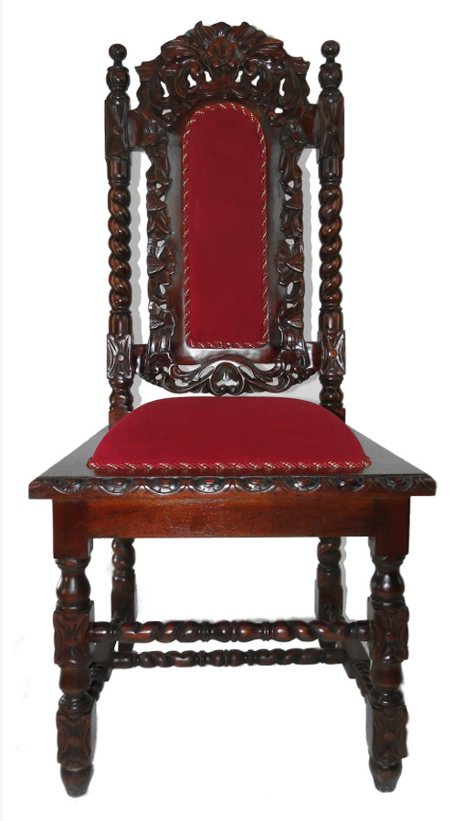 6pc Set Dining Chairs Arm Chair W Red Velvet Downton