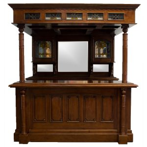 The Dublin Irish Horse Equestrian Canopy Home Bar Tavern Furniture, Mahogany
