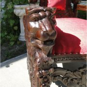 Giant Mahogany Throne Chair for King / Queen or Maybe Santa Claus, Antique Red Velvet, WOW