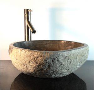 Riverstone Granite Boulder Vessel Sink Counter Top Bathroom Bar Wbt15