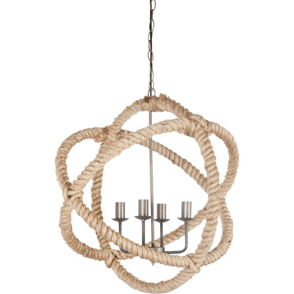 Rope and Metal Orb Ball Round Large Chandelier Hand Crafted Lovely Light Fixture