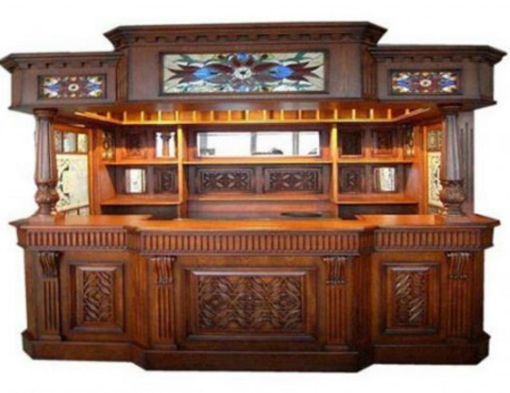 Irish Fitzpatrick Solid Mahogany Tavern Home Ireland Pub Bar with Tiffany Glass Canopy