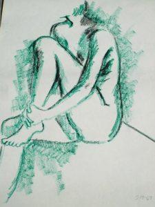 Old 1967 Kraft Charcoal Sketch Drawing, Vintage Art, Listed, Nice Wall Art, Nude