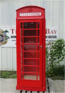Red British London Cast ALUMINUM Iron Telephone PHONE BOOTH Replica Old English