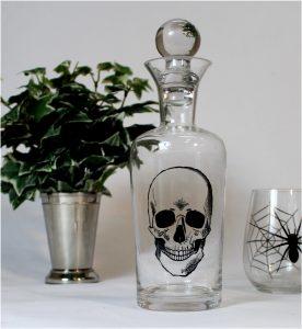 Skull Decanter Liquor Bottle Hand Blown Clear Glass and Stopper
