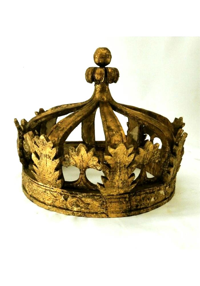 Giant Architectural Wooden Gold Leaf Crown Teester