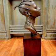 Stunning Head of African Woman on Pedestal Statue in Faux Bronze Finish
