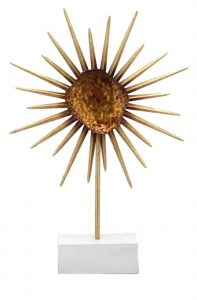 Stunning Contemporary Danish Modern Metal Flower Sculpture On Stand Copper