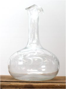 Early Hand Made Etched Blown Glass Decanter with Pontil Mark on Base