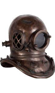 Antique Bronze Finish Old Style Mark V Diver's Helmet, Faux Brass Metal