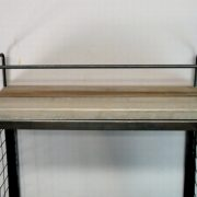 Aged Wood and Metal Wall Mounted Bar w Fold Out Down Shelf