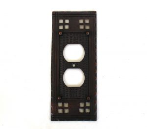 Arts and Crafts or Mission Oil Rubbed Bronze Brass Duplex Outlet Switch Plate