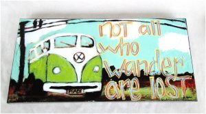 VW Bus Wall Art All Who Wander Are Not Lost Hippy 80's Fun( matches our pillow )