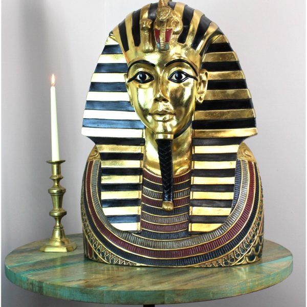 Life Size Tutankhamun Bust Silver & Gold - King Tut Wall 2' Sculpture BEST PRICE