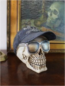 Skull With Hat and Sunglasses Crossbones on Cap Gothic Harley Sculpture