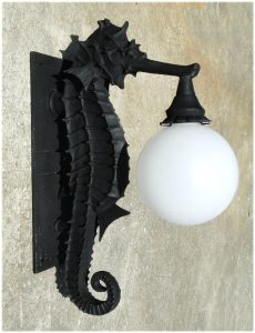 Sea Horse Nautical Outdoor Wall Sconce Light Fixture Commercial or Residential