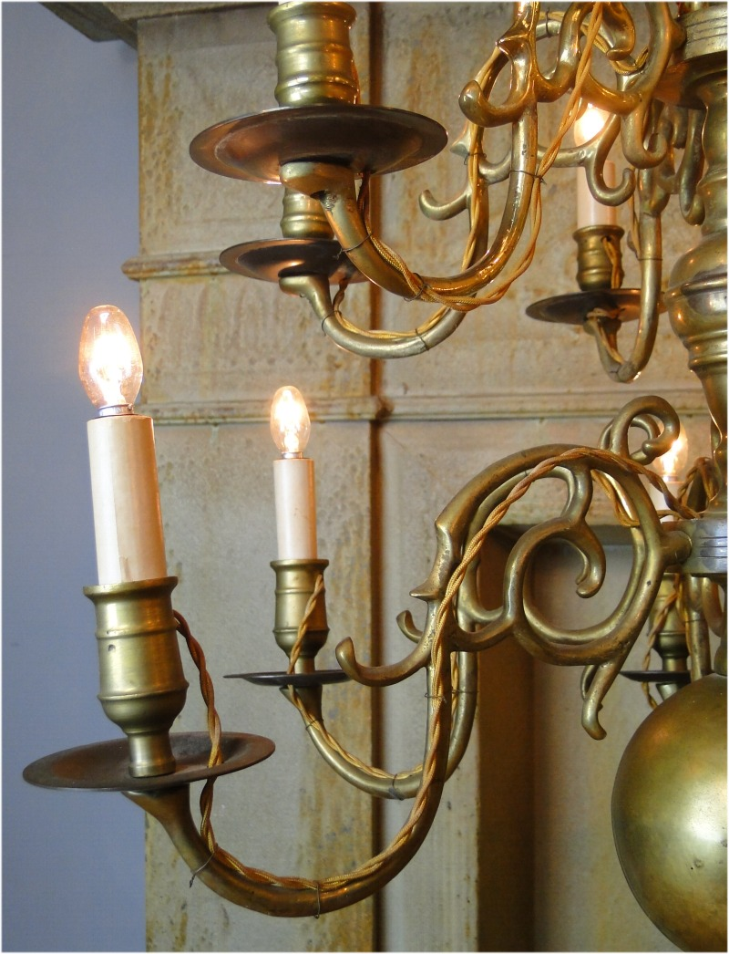 Colonial BIG Solid Brass Chandelier Light Fixture w 12 Arms, Aged Antique,  RARE SALE ... - Colonial BIG Solid Brass Chandelier Light Fixture W 12 Arms, Aged