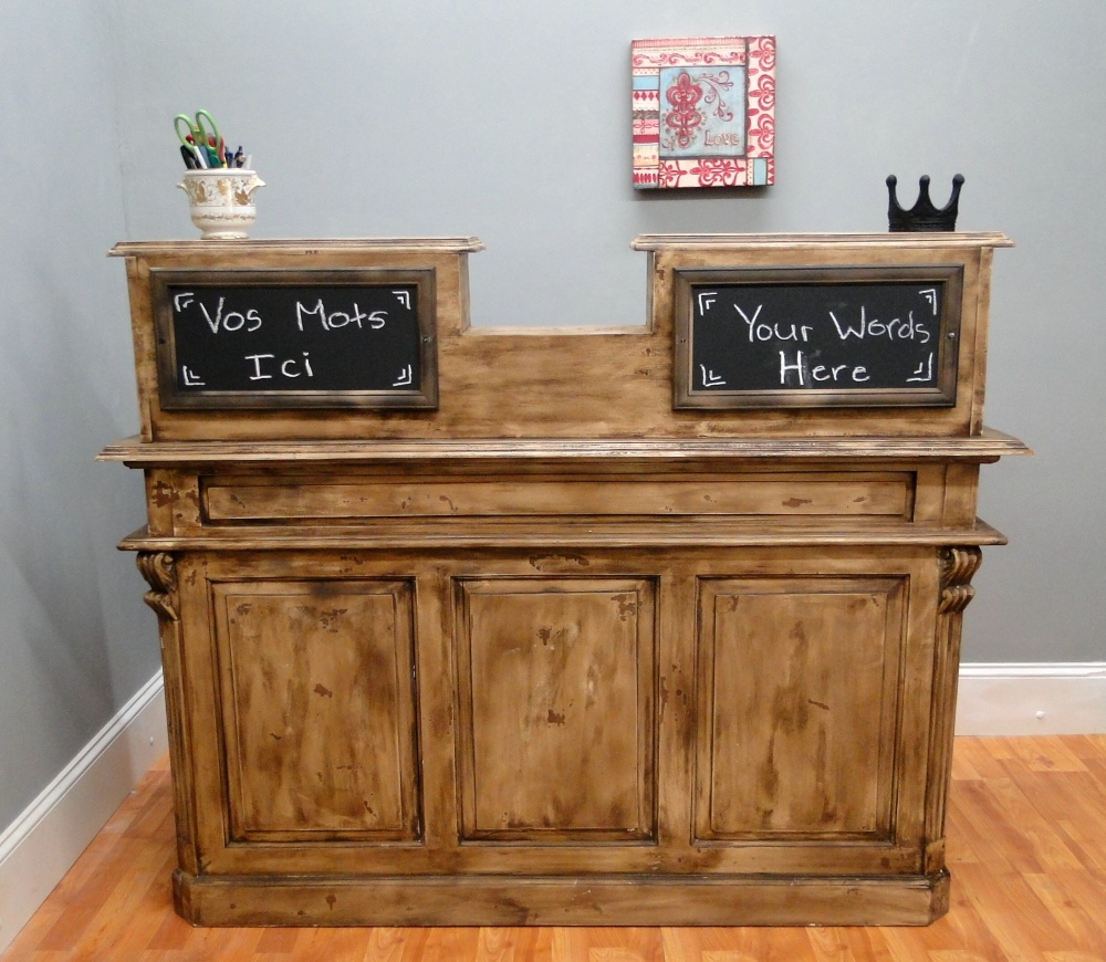 Antique FRENCH STORE COUNTER, Old Restaurant Desk, Reception Desk, Cottage Chic Shabby 1