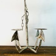 Nautical Ships Anchor Candle Holder Metal w Antique Painted Finish Hand Crafted