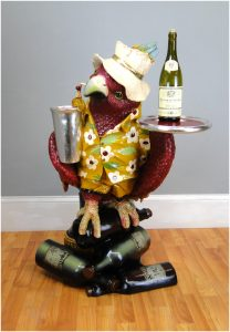 Drink Serving Parrot Butler Bird Statue w Silver Tray, 3' Waiter, Restaurant or Kitchen Decor