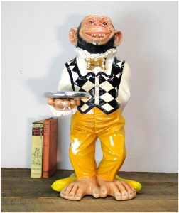 2' Tall Monkey Butler Ape STATUE w Silver tray, Suit & Bow Tie, Bar, Kitchen