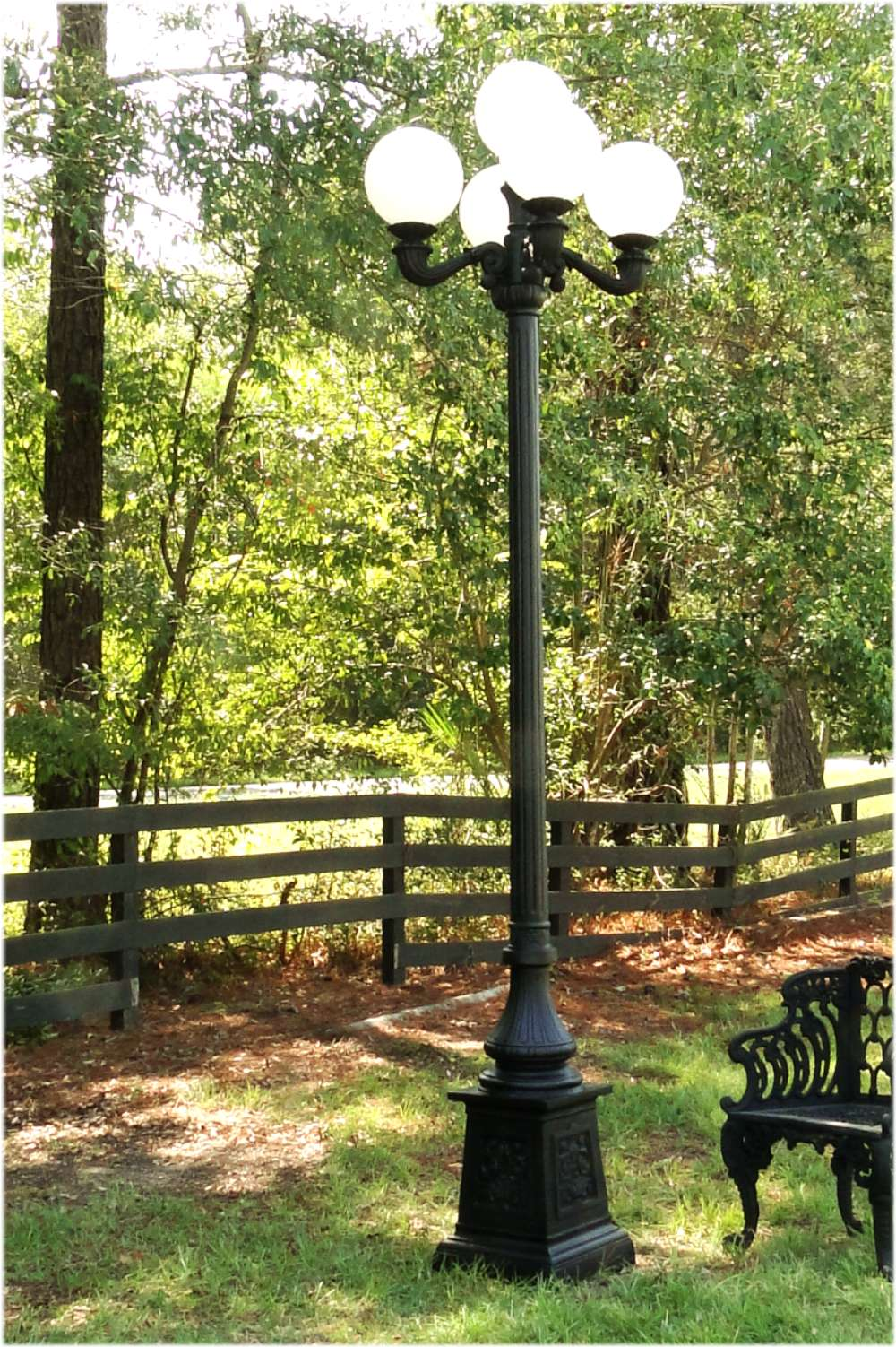 Outdoor 5 Arm Pole Light Victorian Replica Vintage