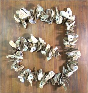 Oyster Shell and Driftwood Stick 6' Garland Hanging Nautical Hand Made