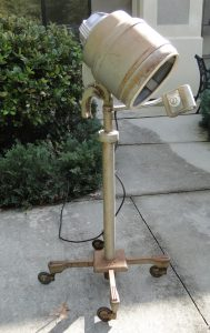 Old Retro Nintage Bonnett Hair Dryer, Industrial Steampunk Light Fixture on Wheels