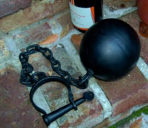 Iron Civil War Wedding Wrecking BALL AND CHAIN Groom Bride Slave Jail Gang