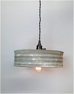 Riddle Sifter Shape Vintage Style Pendant Light Fixture Metal and Rayon Cord