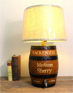 Medium Mackenzie Sherry Oak Cask Barrel Table Lamp with Shade, Vintage