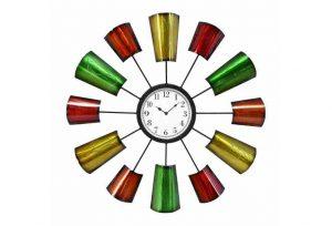 "Big 70""s Mod Aluminum Cups Looking Wall Clock, Hand Crafted Danish Modern Retro"